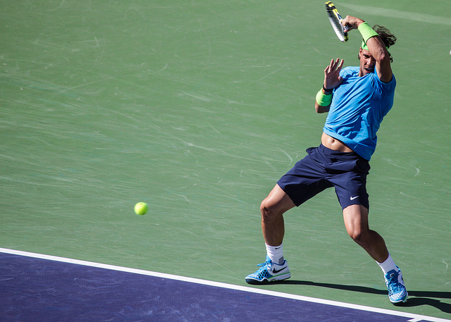 Rafael Nadal BNP Paribas 2012 Open leaning back