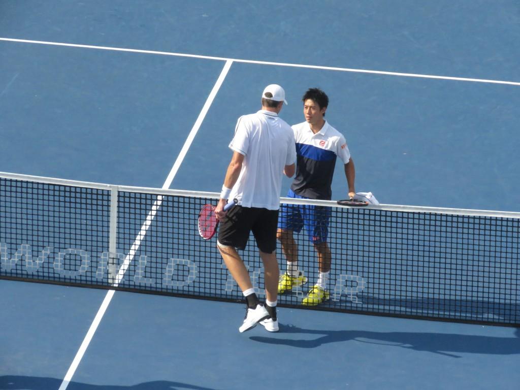 Nishikori Isner Shake Hands Citi Open